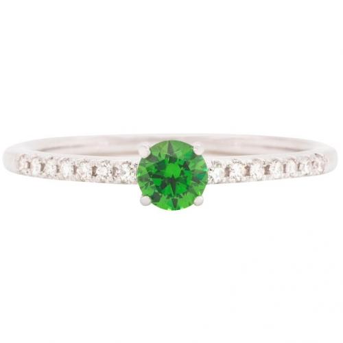 0.31 ct Demantoid White Gold Ring with Diamonds