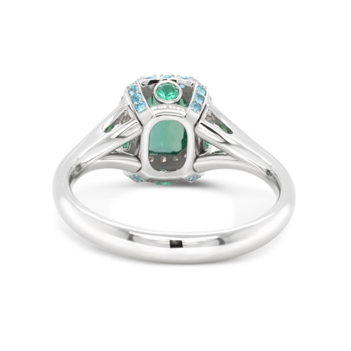 Emerald Ring with Paraiba and Diamonds