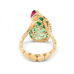 Кольцо с Колумбийским Изумрудом и Рубеллитом с бриллиантами