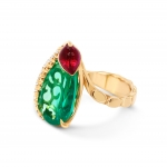Colombian Emerald ring with Rubellite and Diamonds