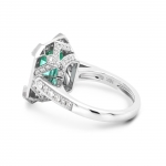 Russian Emerald White Gold Ring with Diamonds