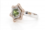 1.19 ct Demantoid Gold Ring with Diamonds