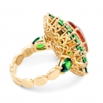 Gold Ring with Spessartite Demantoids and Diamonds