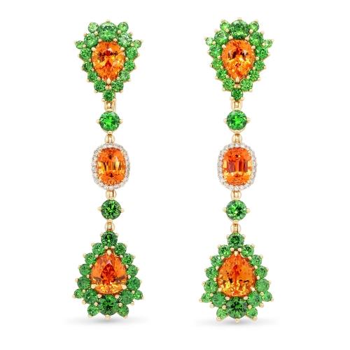 Dangle Earrings with Spessartite Demantoids and Diamonds